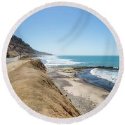 Pacific Ocean Big Sur Coatal Beaches And Landscapes Round Beach Towel