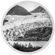 Panoramic View Of Mendenhall Glacier Juneau Alaska Round Beach Towel