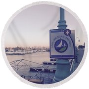 Racine Harbor Wisconsin  Round Beach Towel