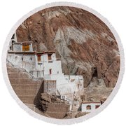 Ruins At Basgo Monastery Round Beach Towel