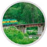 Scenic Train From Skagway To White Pass Alaska Round Beach Towel