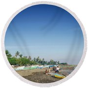 Traditional Fishing Boats On Dili Beach In East Timor Leste Round Beach Towel