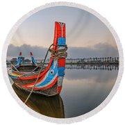U Bein Bridge - Myanmar Round Beach Towel