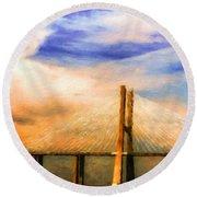 Landscape Paintings Nature Round Beach Towel