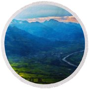 Oil Paintings Art Landscape Nature Round Beach Towel