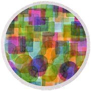 Befriended Squares And Bubbles Round Beach Towel