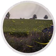 1300 - Fireflies And The House On Hillside Round Beach Towel