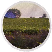 1300 - Fireflies Impression Version Round Beach Towel