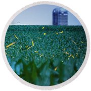 1306 - Fireflies - Lightning Bugs Over Corn Round Beach Towel