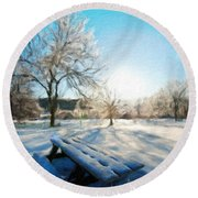 Nature Oil Painting Landscape Images Round Beach Towel