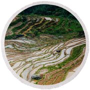 Longji Terraced Fields Scenery Round Beach Towel