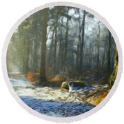 Oil Paintings Art Landscape Nature Round Beach Towel