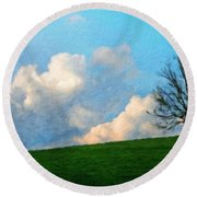 Nature Landscape Painting Round Beach Towel