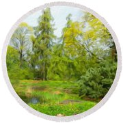 Landscape Nature Pictures Round Beach Towel