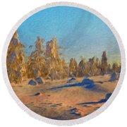 Landscape Painted Round Beach Towel