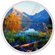 Landscape Paintings Canvas Prints Nature Art  Round Beach Towel