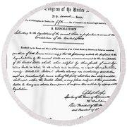 13th Amendment, 1865 Round Beach Towel