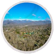 Aerial View On Mountains And Landscape Covered In Snow Round Beach Towel