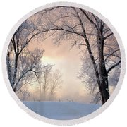 Amazing Landscape With Frozen Snow Covered Trees At Sunrise   Round Beach Towel