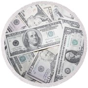 American Banknotes Round Beach Towel