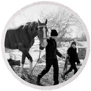 Amish Life Round Beach Towel