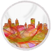 Buffalo New York Skyline Round Beach Towel