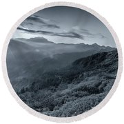 Chilly Winter Sunrise At Lunhgthang Sikkim West Bengal India Round Beach Towel