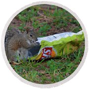 14- Chip Lovin' Squirrel Round Beach Towel
