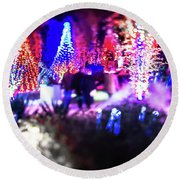 Christmas Light Bokeh At Daniel Stowe Gardens Belmont North Caro Round Beach Towel