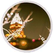 Christmas Lights Holiday Decorations Around Charlotte North Caro Round Beach Towel