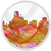 Dallas Texas Skyline Round Beach Towel