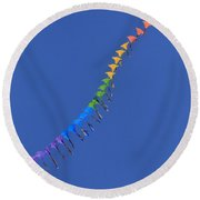 Train Of Flying Kites Round Beach Towel
