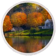 Framed Landscape Art Round Beach Towel
