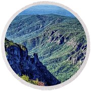 Hawksbill Mountain At Linville Gorge With Table Rock Mountain La Round Beach Towel
