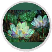 Jeweled Water Lilies Round Beach Towel