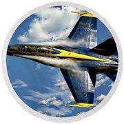 Navy Blue Angels Round Beach Towel