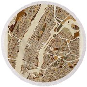 New York City Street Map Round Beach Towel