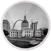 St. Louis Downtown Skyline Buildings At Night Round Beach Towel
