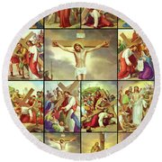 14 Stations Of The Cross Round Beach Towel
