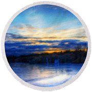 Landscape Oil Painting Nature Round Beach Towel
