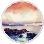 Nature Landscape Oil Painting On Canvas Round Beach Towel