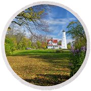 1406 North Point Lighthouse Round Beach Towel