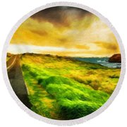Landscape On Nature Round Beach Towel