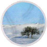 Landscape Oil Painting Nature Round Beach Towel