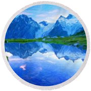 Nature Scenery Oil Paintings On Canvas Round Beach Towel