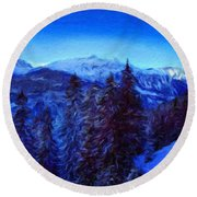 Nature Pictures Of Oil Paintings Landscape Round Beach Towel