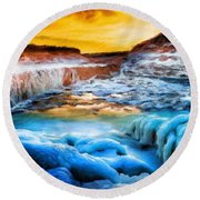 Landscape Nature Drawing Round Beach Towel