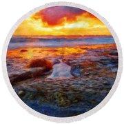 Nature Landscape Oil Round Beach Towel