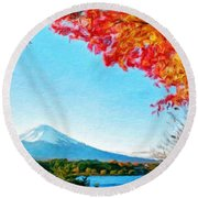 Nature Landscape Illumination Round Beach Towel