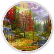 Nature Landscape Nature Round Beach Towel